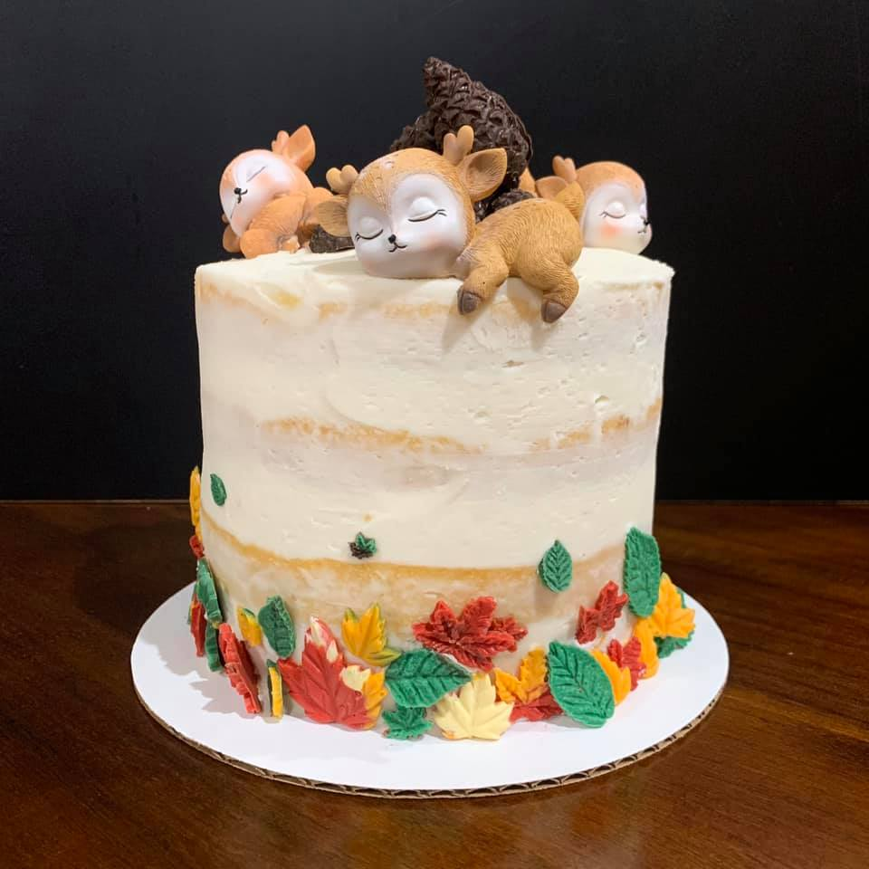 Fall Baby Shower Vanilla Cake (Deer toppers provided by clent)