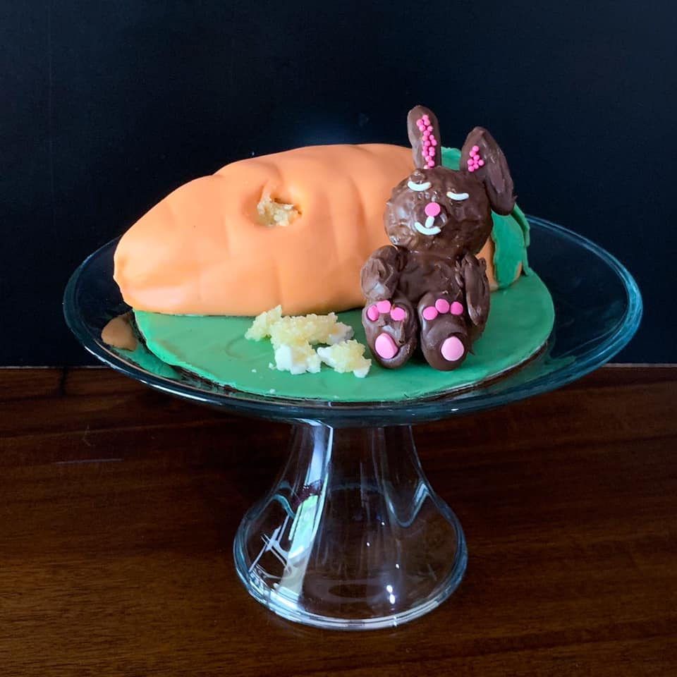 Bunny Eating Carrot Cake